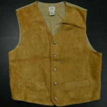 Gap Vtg Mens Suede Leather Solid Natural Color Classic Designer Vest Size Large Photo