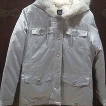 Gap-w' Hooded Down Coat W Faux Fur - Button Closure - Small - Silver Photo