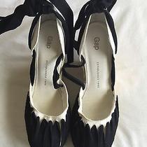 Gap Wedge Black/beige Sandals /twill Tape Espadrille Size 8 Photo