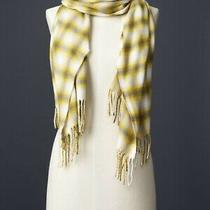 Gap White Yellow and Gray Soft Cozy Plaid Scarf With Fringe Photo