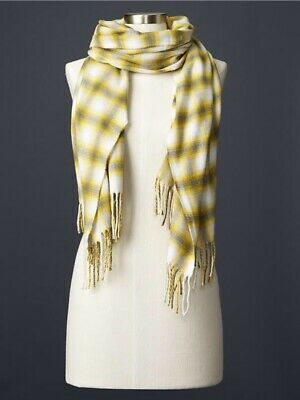 GAP White, Yellow, And Gray Soft Cozy Plaid Scarf With Fringe Photo