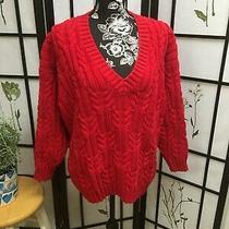 Gap Woman's Red 100% Cotton v-Neck Sweater  Size Medium Photo