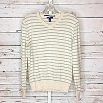 Gap Womans Long Sleeve v Neck Striped Sweater Size Xs Photo