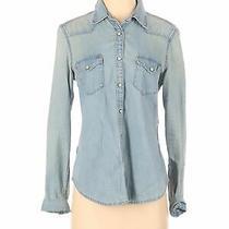 Gap Women Blue Long Sleeve Button-Down Shirt S Photo