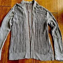 Gap Women Crochet Stitch Long Purple Cardigan Sweater L Photo