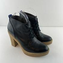 Gap Women Lace Up Booties Boots 7 Black Oil Crepe Leather Platform Heel Gum Sole Photo