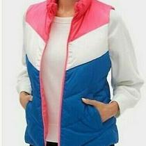 Gap Women Lightweight Color Block Retro Puffer Vest Top Pink Multi Color Large Photo