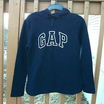 Gap Women Logo Hoodie Sweatshirt Curved Hem Size S Navy  Photo