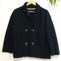 Gap Women Navy Cotton Knit Double Breasted Jacket Size L Photo