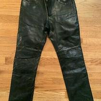 Gap Women's Black Genuine Leather Boot Cut Lined Motorcycle Pants (Size 8) Punk  Photo