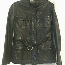 Gap Women's Black Leather Belted Jacket - Size Xs Photo
