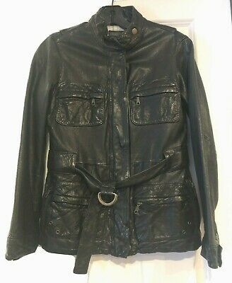 GAP WOMEN'S Black LEATHER Belted JACKET - SIZE XS Photo