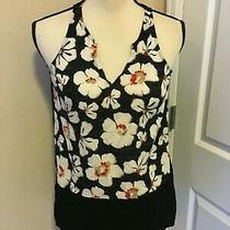 Gap Women's Black Sleeveless Hilo  Floral Blouse Size Xs Photo