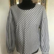 Gap Women's Black/white Diagonal Striped L/s 100% Cotton Top Sz Xs Button Cuff Photo
