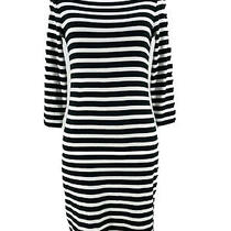 Gap Women's Black White Striped 3/4 Fitted Long Sleeve Dress Size Xs Photo