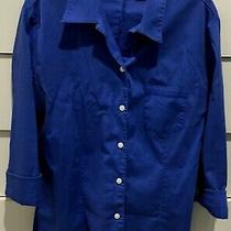 Gap Women's  Blue 3/4 Sleeve Button Down Stretch Shirt - Sz Medium  Blue Photo