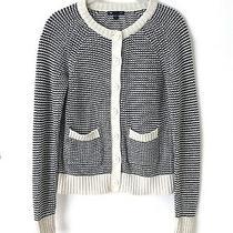 Gap Women's Blue Ivory Cardigan Preppy Sweater Jacket Contrast Trim Size S Photo