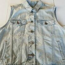 Gap Womens Blue Jean Cotton Denim Vest Sz Large Photo