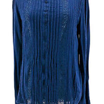 Gap Women's Dark Blue Ruffled Long Sleeve Blouse Size Small Photo