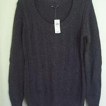 Gap Women's Gray Cable Knit Crew Neck Sweater M New Photo