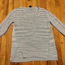 Gap Women's Gray Scoop Neck Pullover Sweater With 3/4 Length Sleeves Size Small Photo