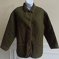 Gap Women's Green and Floral Multi-Color Reversible Button Front Barn Jacket M   Photo