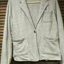 Gap Women's Heather Gray Cotton Jacket Blazer - Size Large - 3 Patch Pockets  Photo