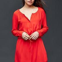 Gap Women's Hot Red Soft Tie Shirtdress Dress Size M Tall Photo