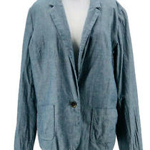 Gap Women's Light Blue 100% Cotton Long Sleeve One-Button Blazer Size 16 Photo