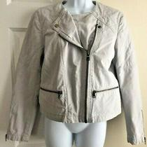 Gap Women's Light Gray Quilted Zip Front Med Weight Jacket Size 12 Petite Euc Photo