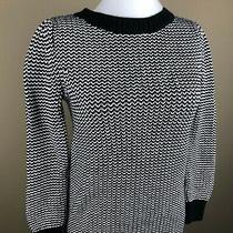 Gap Women's Maternity Tunic Sweater Size Xs Black White Heavy Knit Crew Neck Photo