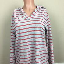 Gap Women's Medium M Orange and Gray Striped v-Neck Long Sleeve No Tie Hoodie Photo