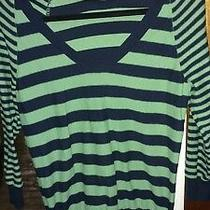 Gap Women's Medium v-Neck Green and Navy Blue Striped Pullover Sweater Photo