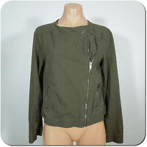 Gap Women's Moto Style Jacket Olive Green Linen Blend Cross Front Zipper Sz S Photo