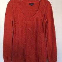 Gap Women's Orange Scoopneck Cableknit Front Sweater Size Small Photo