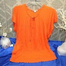 Gap Women's Orange Tunic Top Size Large Casual Work T-Shirt Retro Peasant Shirt Photo