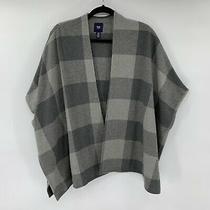 Gap Womens Poncho Sweater Grey Size Xs/s Plaid Jacket Kimono Cardigan Flannel Photo