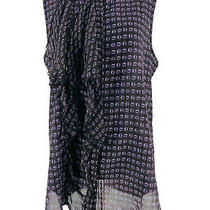 Gap Women's Purple Printed Ruffle Sheer Sleeveless Blouse Size Medium Photo