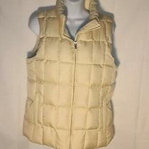 Gap Women's Quilted Down Puffer Vest Size M Cream Colored F1 Photo
