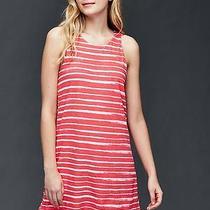 Gap Women's Red Striped Double-Layer Linen-Cotton Dress Size M Photo