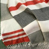 Gap Womens Scarf Shawl Wrap Cream Tan Orange Gray Stripes Super Soft Photo