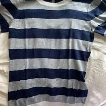 Gap Women's Short Sleeve Crew Neck Striped Navy Blue Gray Sweater Tee Size Small Photo