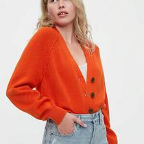Gap Women's Size S Slouchy Orange Cardigan 100% Cotton 59.95 Photo