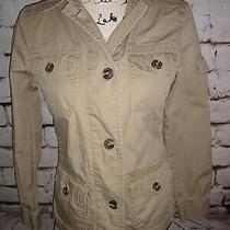 Gap Women's Size Xs Khaki Beige Tan Jacket Blazer Button Up Cargo Pockets Cotton Photo