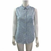 Gap Womens Size Xs Sleeveless Blue White Floral Button Down Shirt Photo