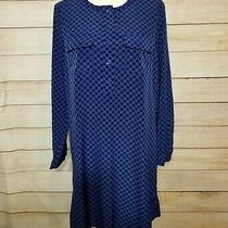 Gap Women's Small Blue Black Polka Dot Shift Dress Long Sleeve 1/4 Button Photo