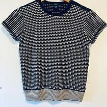 Gap Womens Stretch Knitted Top Black Cream Beige 50s Style Size Xs Uk 8 Photo