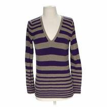 Gap Women's  Striped Sweater Size Xs  Purple Grey  Cotton Rayon Silk Photo