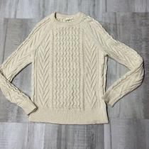 Gap Womens Sweater Xs Soft Beige Cable Knit Crewneck Long Sleeve 100% Cotton Photo