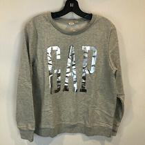 Gap Womens Sz M Grey Silver Pullover Logo Sweatshirt Nwt Photo